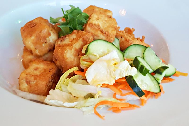 A-15 ĐẬU HỦ LĂN BỘT CHIÊN DÒN -- House crispy tofu with special soy dipping sauce