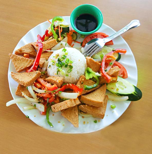 C-48 CƠM ĐẬU HỦ RANG MUỐI 9.75 Broken or regular rice with salt and pepper crispy tofu