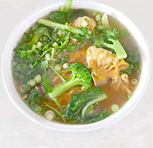 S-60 MÌ HOÀNH THÁNH SOUP -- Pork and shrimp wor wonton soup with egg noodles